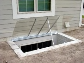 Custom Sloped Hinged Well Cover Propped & Hinged Open