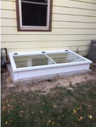 Rectangular Tempered Glass Egress Cover Closed and Open Views