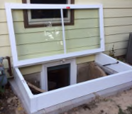 Rectangular Tempered Glass Egress Cover Closed and Open Views 2