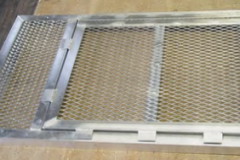 Custom Aluminum Grate with Hinged Escape Hatch Closed & Open views