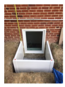 "Casement In-swing Egress Window in a 36"" wide Deluxe Compact Egress Well"
